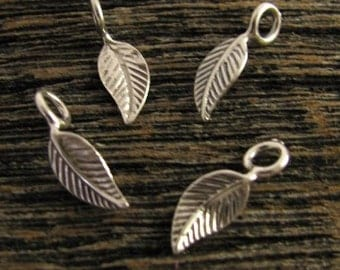 4 Organic Little Leaf Charms in Sterling Silver, Double Sided Natural Dangles or Drops, C175