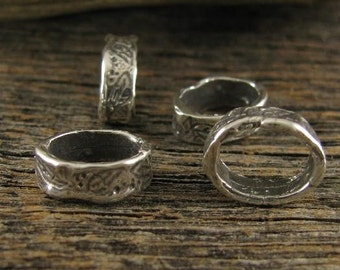 4 Organic Sterling Silver Leaf Textured Rustic connectors or Links AC140a