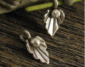 Fine Silver Leaf Charms Handcrafted by  Karen Hill Tribe - 2 Organic Leaves - Dangles  C177