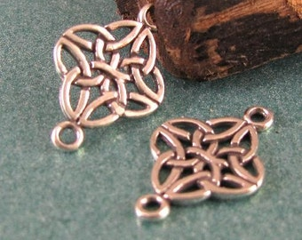 STERLING SILVER Celtic Knot Links or Connectors -  2 Irish Love Knots  L81