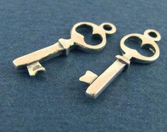 """2 Sweet and Simple Sterling Silver Skeleton Keys, 7/8"""" tall, 22mm, Double Sided, C139"""