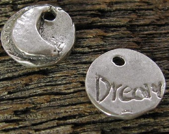 Sterling Silver Moon Charms - Small Round DREAM - Motivational -  Inspiration Charms AC46