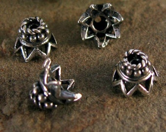 4 Sterling Silver Bead Caps, Crown of Glory, Small, Elegant and Fancy 6mm  x 4mm - Oakhill Silver Supply  MB68