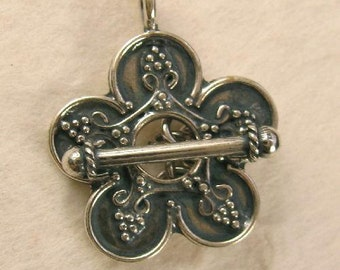 Sterling Silver Toggle - Flower Shaped Decorated with Tiny Dots of Silver - Oxidized  T80