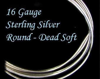 Sterling Silver Wire - 16 Gauge - Dead Soft-  Round - 2 Ft -  DS16S2