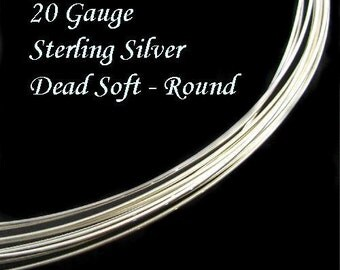 20 Gauge Sterling Silver Wire- Dead Soft-Round- 5 Feet- DS20S5