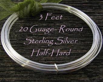 20 Gauge Sterling Silver Wire -  Round- Half Hard - 3 FT  HH20S3