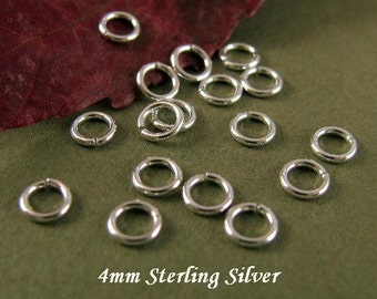 Sterling Silver Jump Rings 4mm  - 21 Gauge OPEN  50 Pcs - JR10a