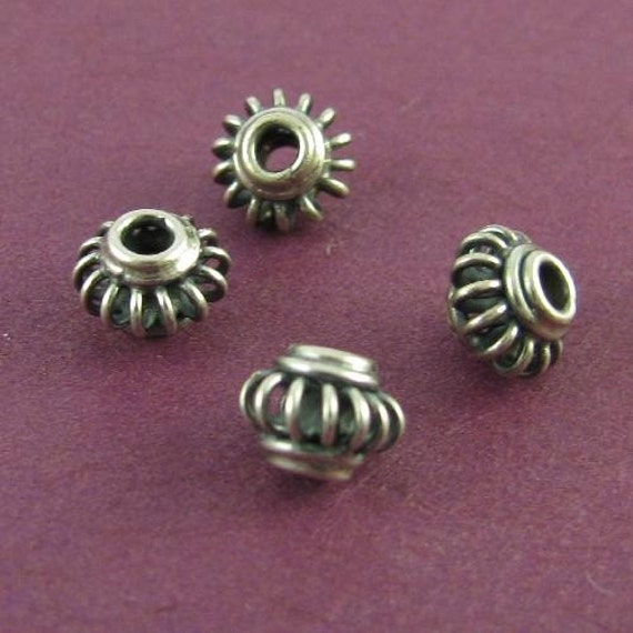 Sterling Silver Artisan Beads - Rustic Twisted Wire - 4 Oxidized Sterling Beads 7mm  - MB46