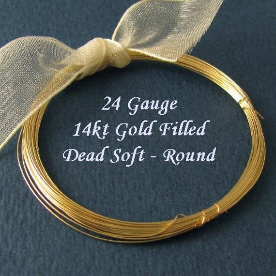 24 Gauge - Dead Soft 14kt Gold Filled Wire - Round - 5 Ft - DS24GF5