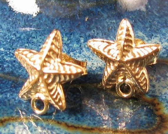 Gold Starfish Ear Wire Posts - One Pair of 14kt Gold Filled Beach Studs - E81