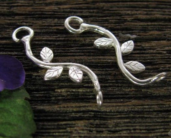 Sterling Silver Leaf Connectors - 2 Shiny Silver Branch Links -  Curvy Vines - L155