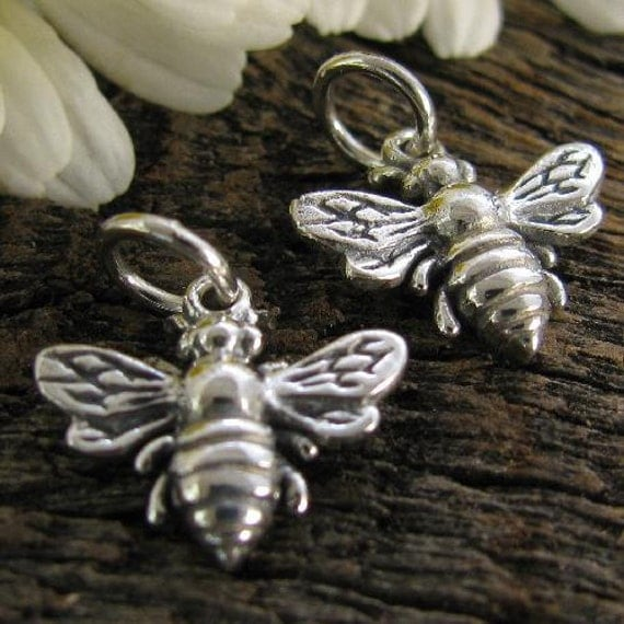 Honey Bee Charms or Pendants 2 Bees in STERLING SILVER  C158a