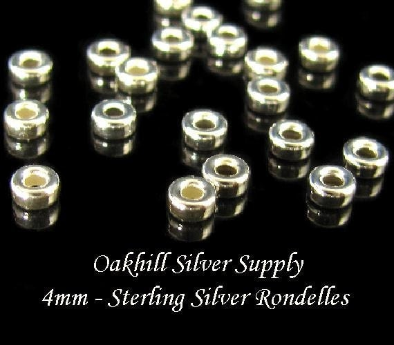 4mm Sterling Silver Rondelle Spacer Beads - 20 pcs -  High Shine  MB164
