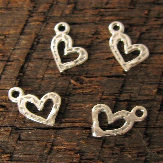 Sterling Silver Heart Charms - 10 Teeny Tiny Open Hearts - 7mm - C18