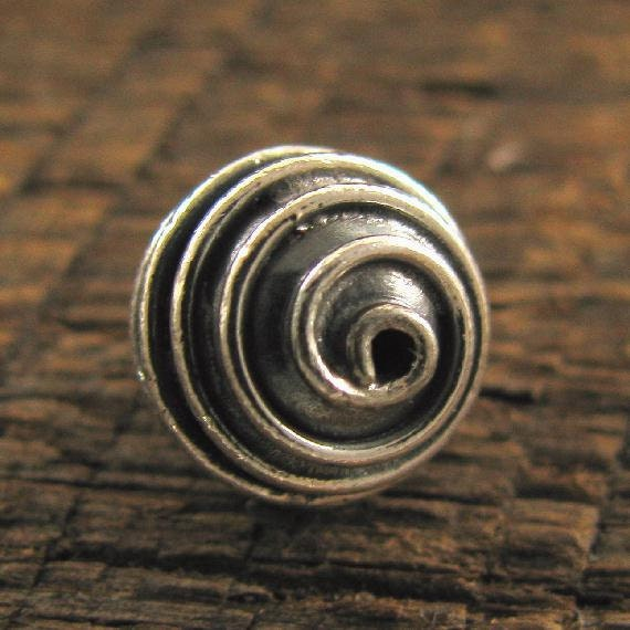 Sterling Silver Round Beads - 2 Spirals - Bali Handcrafted Oxidized Beads 9mm MB114