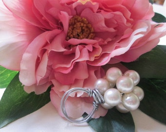 Champagne Colored Pearl Wire Wrapped Ring