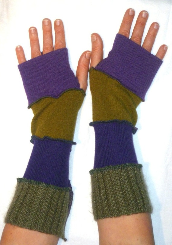 One of a kind arm warmers fingerless gloves from recycled sweaters purple and green by SpiralGypsy