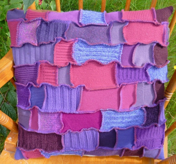 SALE 30% off - Happy Scrappy Crazy Patchwork Cushion Cover purple made from recycled sweaters by SpiralGypsy