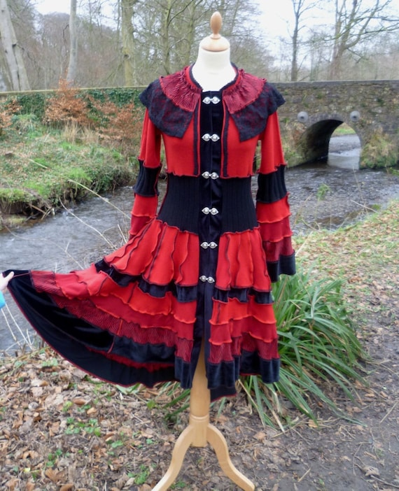 SALE 40% OFF - Moulin Rouge - Victorian gypsy coat from recycled sweaters by SpiralGypsy - size S/M - Ready To Ship