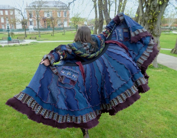 Treasure  - Gypsy sweater coat by SpiralGypsy Size L  - RESERVED for Iona - please do not purchase