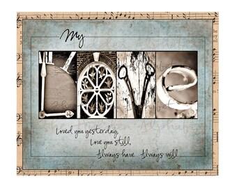 Alphabet Photography LOVE FuNkY Vintage Print ORIGINAL ART, Anniversary or Wedding Gift