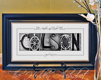 Alphabet Photography, Personalized Gift for Wedding or Anniversary, Last Name Art