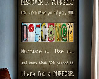 FuNkY  Alphabet Photo Fine Art Print  INSPIRATIONAL 11x14 Letter Photography DISCOVER