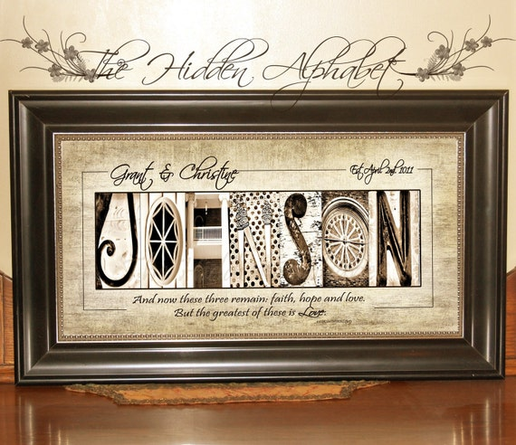 CHRISTIAN WEDDING Gift with SCRIPTURE Alphabet Photography Photo Letter Art Personalized Custom Religious Gift