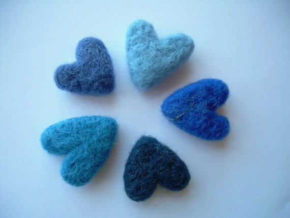 Reserved for Kelly Yeoman (kjyeoman)- Blue Hearts, Needle Felted, Set of 5