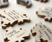 Wedding puzzle (guest book), Wood, 30 PIECES, shaped, handcut, personalized, words, figurals, 11 x 14 inches
