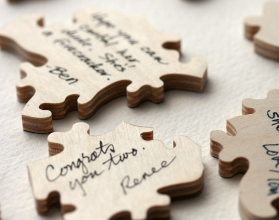 RESERVED for JENN -- Rustic Guest Book Wedding Puzzle WOOD 100 pieces
