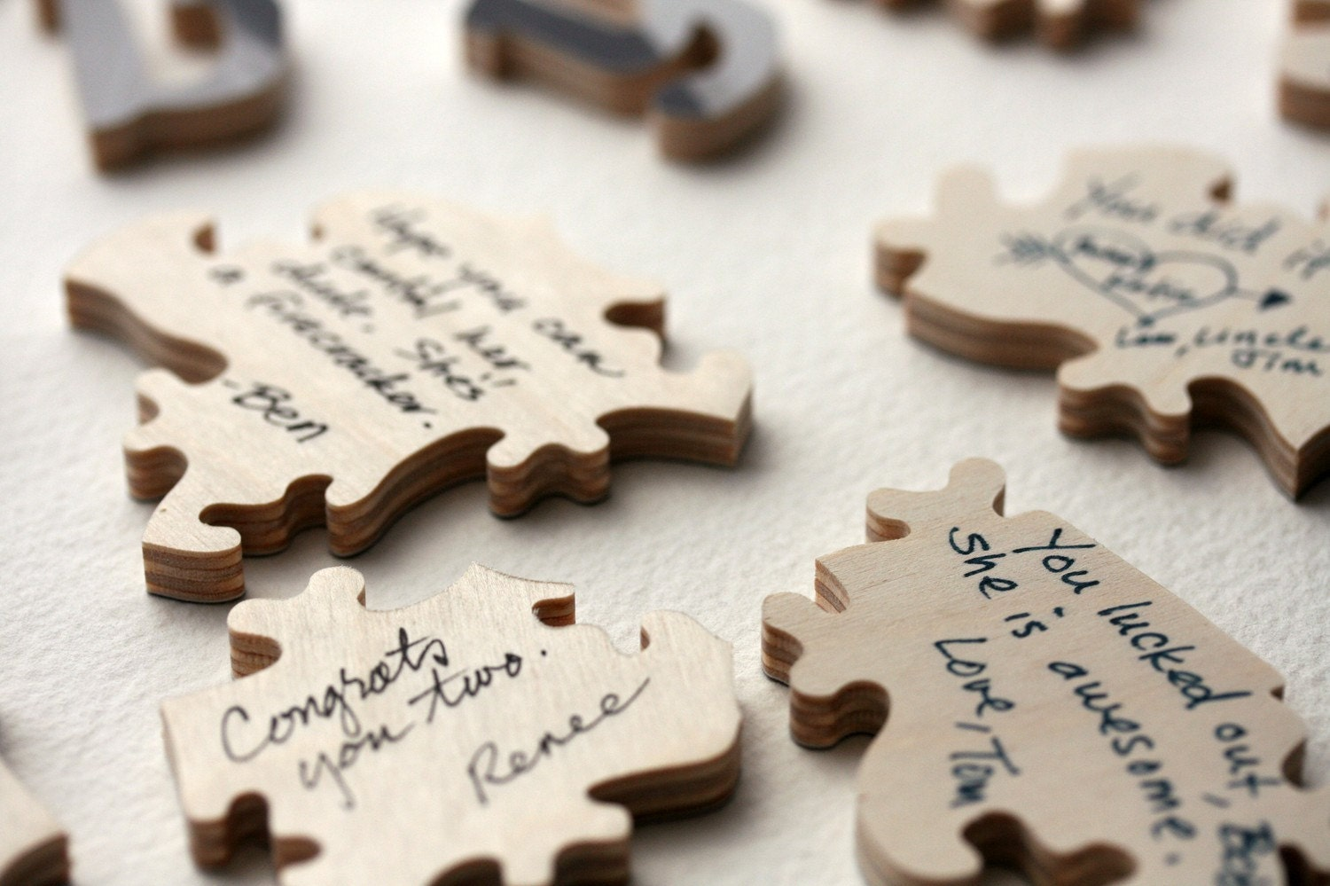 Wedding Puzzle Guest Book Wood 70 PIECES Shaped Custom