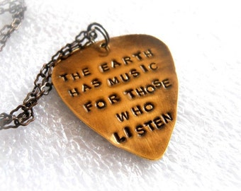 Hand Stamped Brass Guitar Pick Necklace