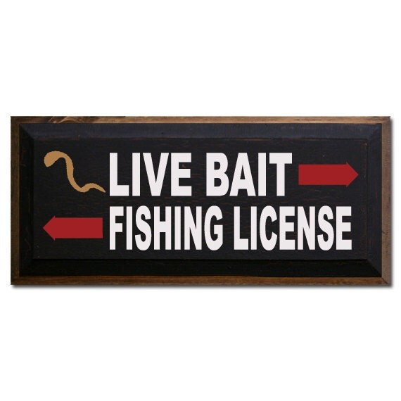 Live bait fishing license by saltboxsigns on etsy for Fishing license illinois