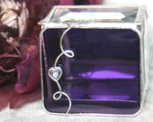 Stained Glass Design Jewelry Box Vivid Purple Ring Box 2x2 w/ Pewter Heart