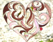 Stained Glass Heart Valentine Heart Intricate Tribal Motif - Custom Made-to-Order Wedding Gift Anniversary Gift Bride and Groom