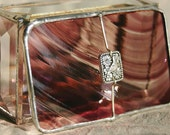 Stained Glass Jewelry Box Wine Baroque  2x3 w/ Pewter Paloma Bird Link Hand-crafted OOAK