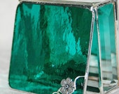 Stained Glass Box for Jewelry Teal 3x3 w/ Silver-plated Apple Blossom Flower Handmade OOAK
