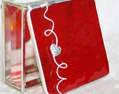 Stained Glass Box Cherry Red 3x3 w/ Pewter-cast Scrolled Heart Handmade Valentines Day