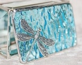 Stained Glass Jewelry Box Sky Blue 2x3 w/ Floral Stamped Dragonfly Handmade OOAK