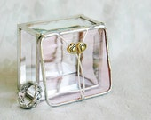 Stained Glass Box Soft Pink 2x2 Ring Box w/ two Pewter-cast Hearts Wedding Ceremony Engagement Anniversary Gift Handmade