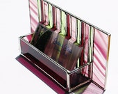 RESERVED for JEN Stained Glass Business Card Holder Wine Peridot Art Glass Office Home Desk Accessory Graduation Gift Handmade OOAK Striped