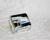 Stained Glass Ring Box Black and White 2x2 w/ Art Nouveau Soaring Swallow Wedding Ceremony Engagement Hand-crafted
