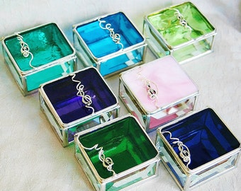 Bridesmaid Gift Idea Stained Glass Box Set of Seven - Custom Made To Order Bridal Attendant Gifts