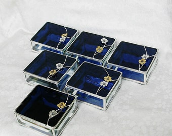 Bridal Attendants Gifts Stained Glass Jewelry Boxes Set of Six - Custom Made To Order Bridesmaid Gift Idea