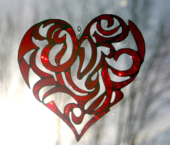 Stained Glass Red Heart Valentine Heart Tribal Motif Custom Made-to-Order Handmade Wedding Gift Anniversary Gift