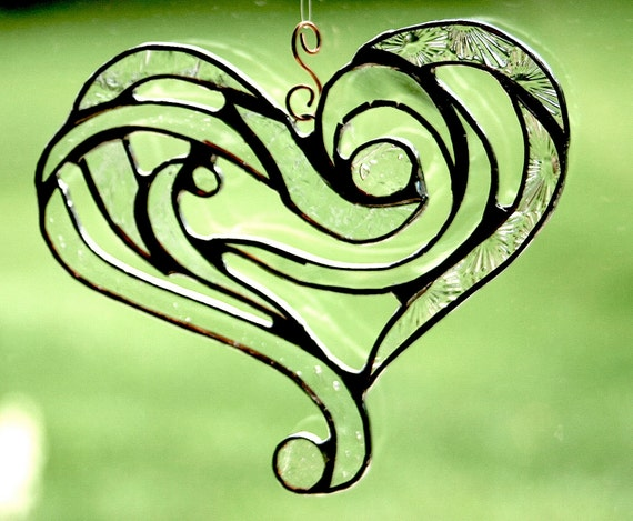 Stained Glass Heart Suncatcher in a Tribal Motif