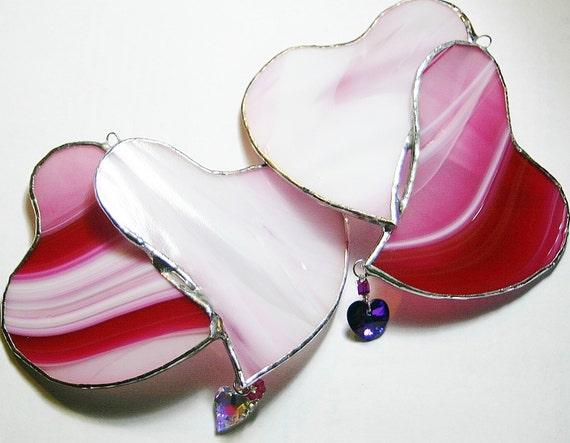 Pink Opal Stained Glass Hearts Suncatcher w/ Swarovski Heliotrope Crystal Heart Wedding Gift Bride & Groom Anniversary