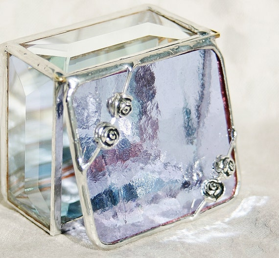 Stained Glass Jewelry Box Lavender Purple 2x2 Engagement Ring Box w/ four Rose Flower Beads Wedding Ceremony Handmade